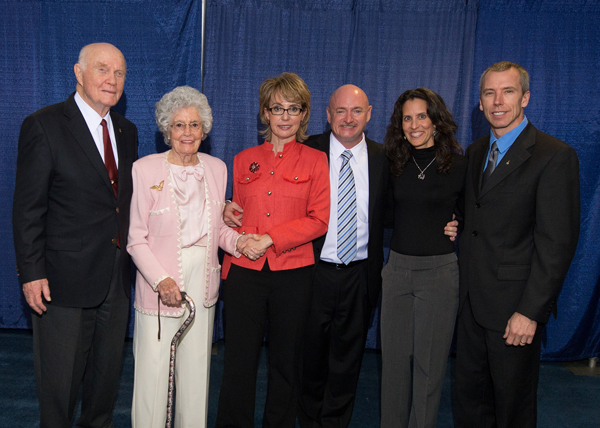 John and Annie Glenn, Gabby Giffords and Mark Kelly, Indira and Drew Feustel