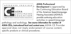 ASHA Approved CE Provider